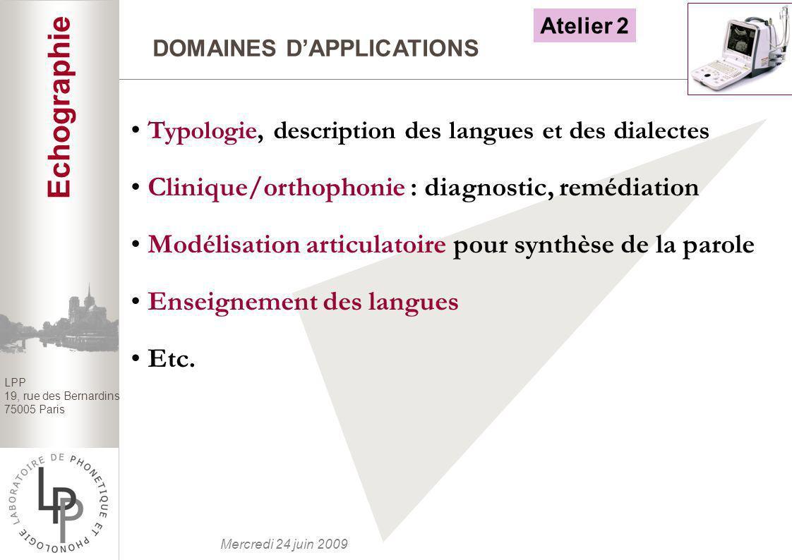 BILAN Echographie Typologie, description des langues et des dialectes