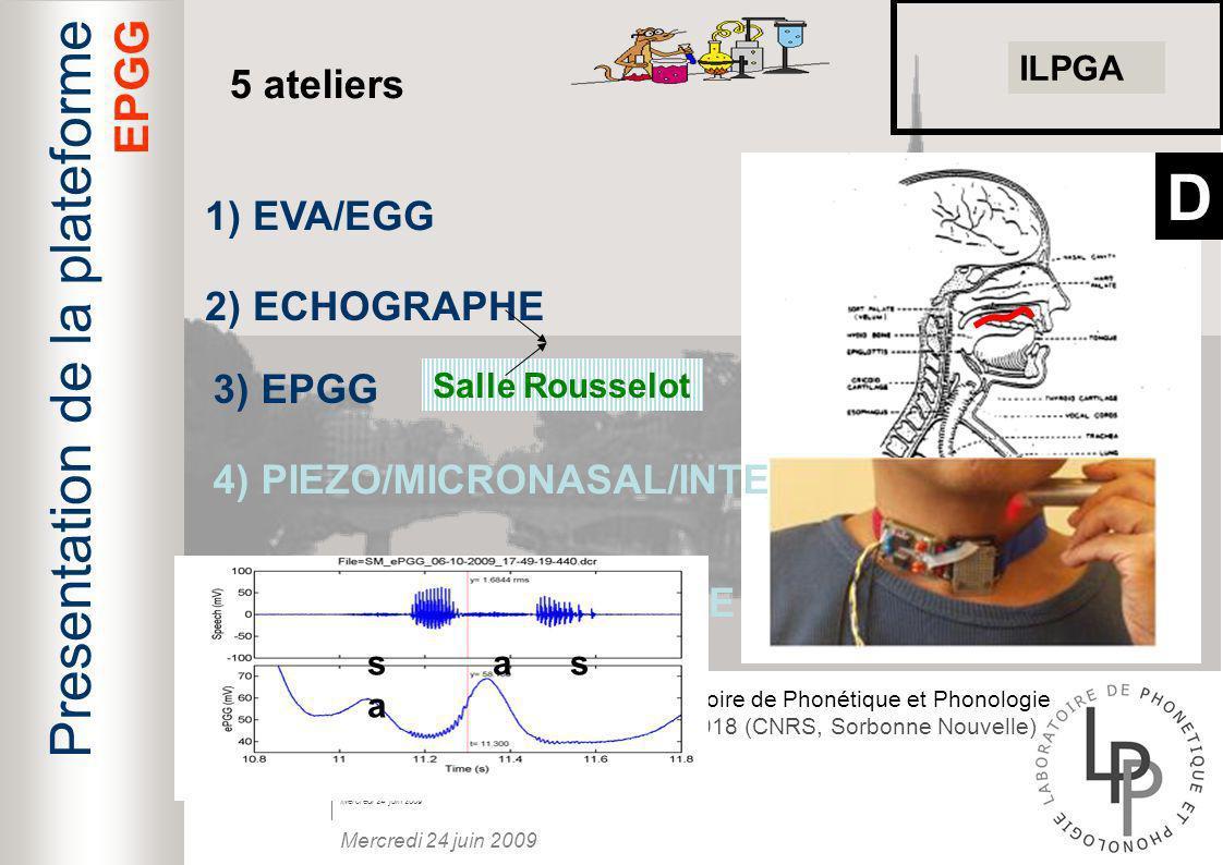 D Presentation de la plateforme EPGG 5 ateliers 1) EVA/EGG