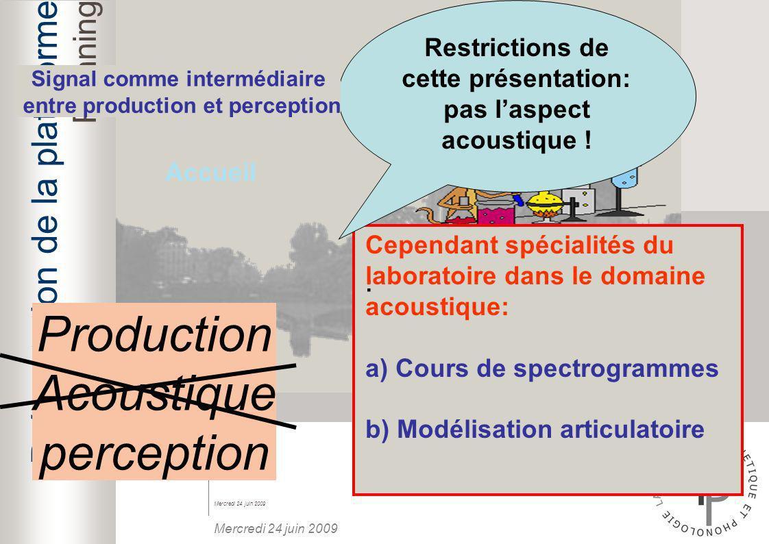 Production Acoustique perception Présentation de la plateforme