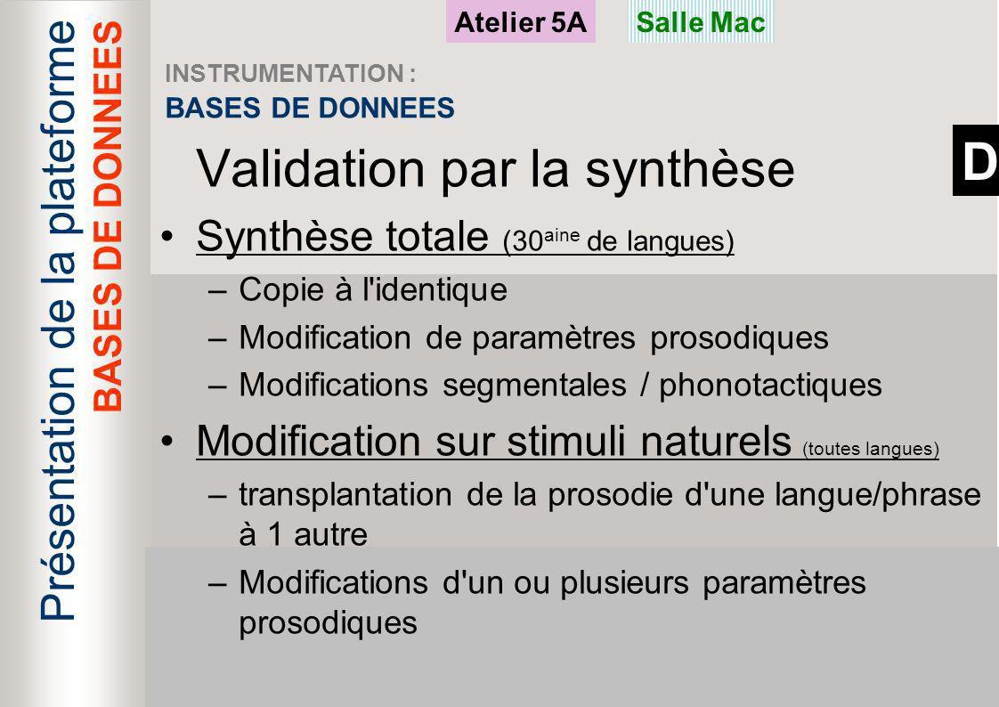 D Présentation de la plateforme Validation par la synthèse