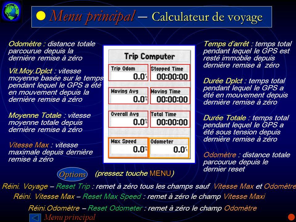 Menu principal – Calculateur de voyage