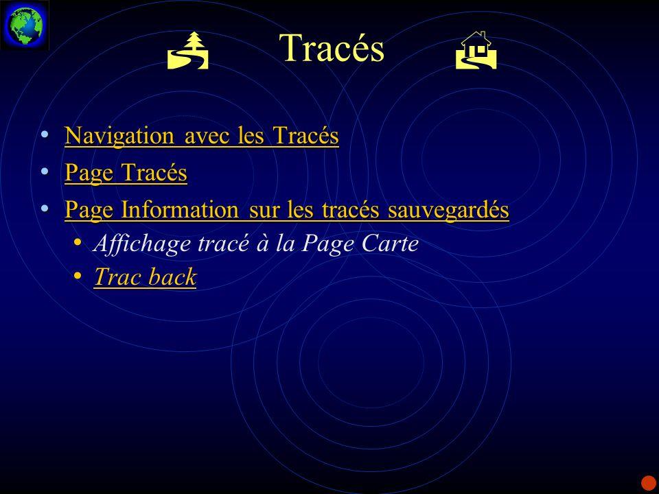 P Tracés H Navigation avec les Tracés Page Tracés