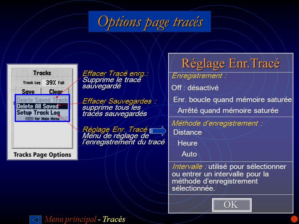 Options page tracés Réglage Enr.Tracé OK Off : désactivé
