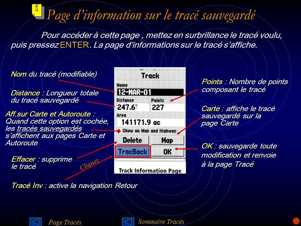 Page d'information sur le tracé sauvegardé