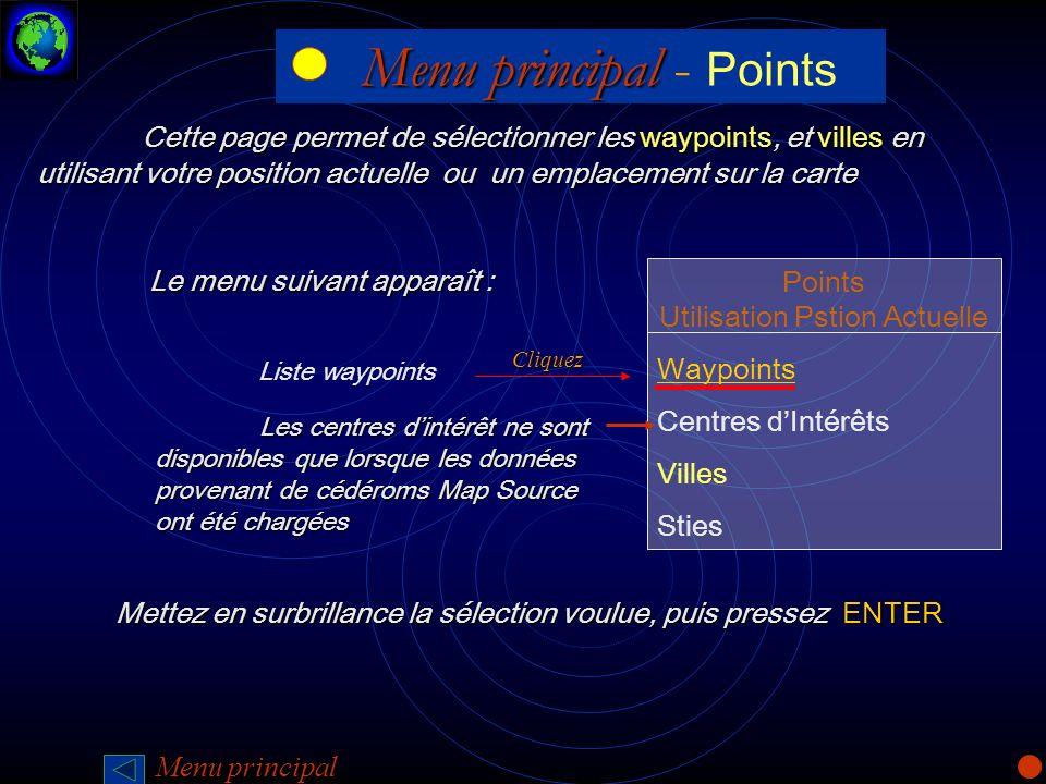 Menu principal - Points