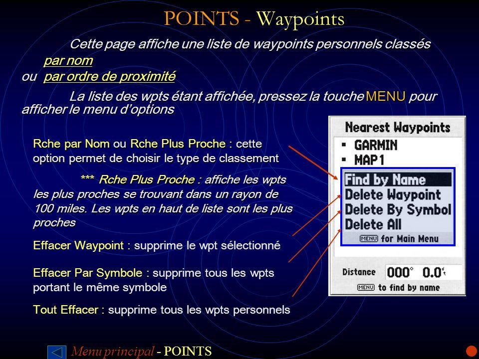 POINTS - WaypointsCette page affiche une liste de waypoints personnels classés. par nom. ou par ordre de proximité.