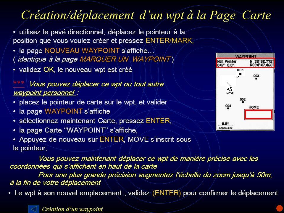 Création/déplacement d'un wpt à la Page Carte