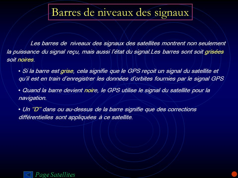 Barres de niveaux des signaux