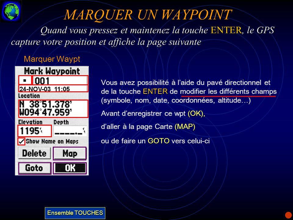 MARQUER UN WAYPOINTQuand vous pressez et maintenez la touche ENTER, le GPS capture votre position et affiche la page suivante.