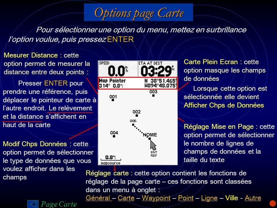 Options page Carte Pour sélectionner une option du menu, mettez en surbrillance l'option voulue, puis pressez ENTER.
