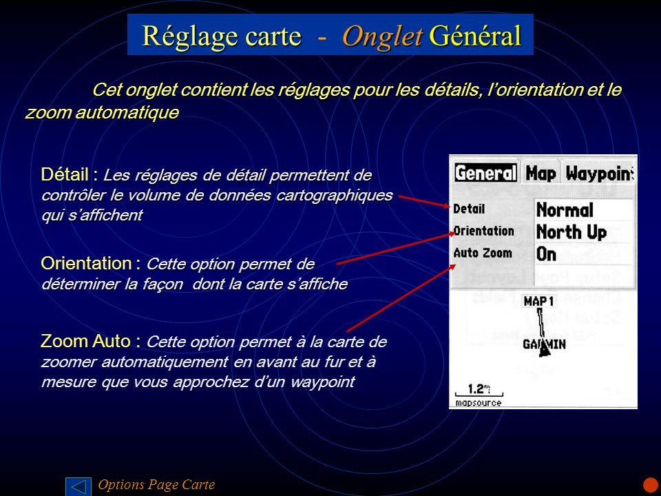 Réglage carte - Onglet Général