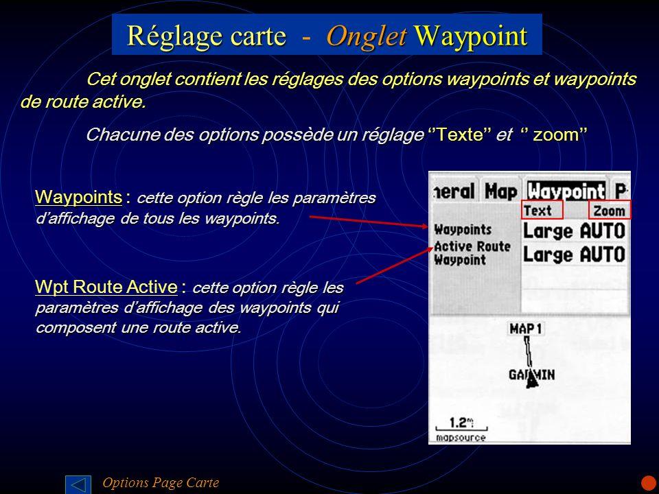 Réglage carte - Onglet Waypoint