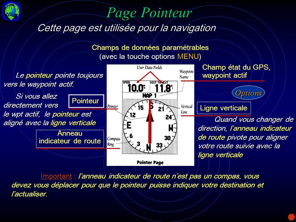 Page Pointeur Cette page est utilisée pour la navigation Options
