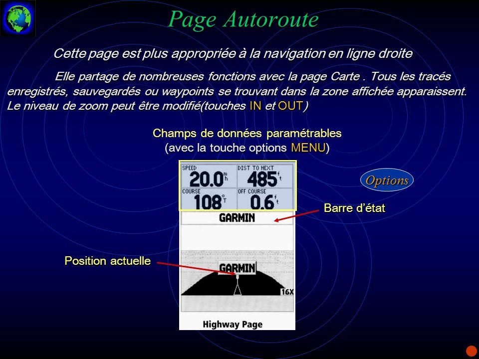 Page Autoroute Cette page est plus appropriée à la navigation en ligne droite.