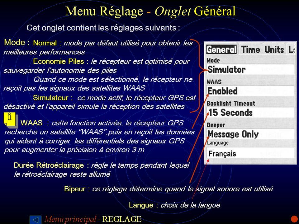 Menu Réglage - Onglet Général