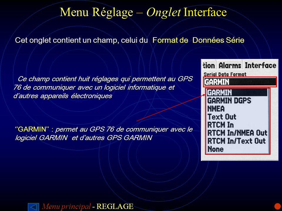 Menu Réglage – Onglet Interface
