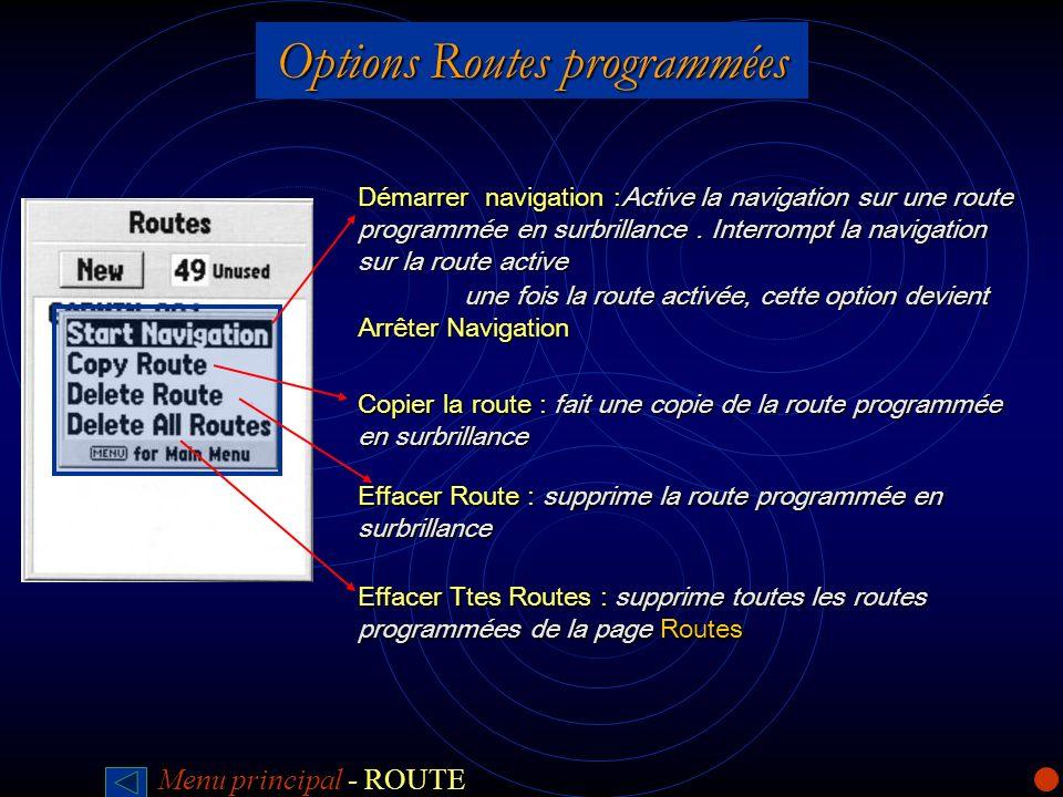 Options Routes programmées