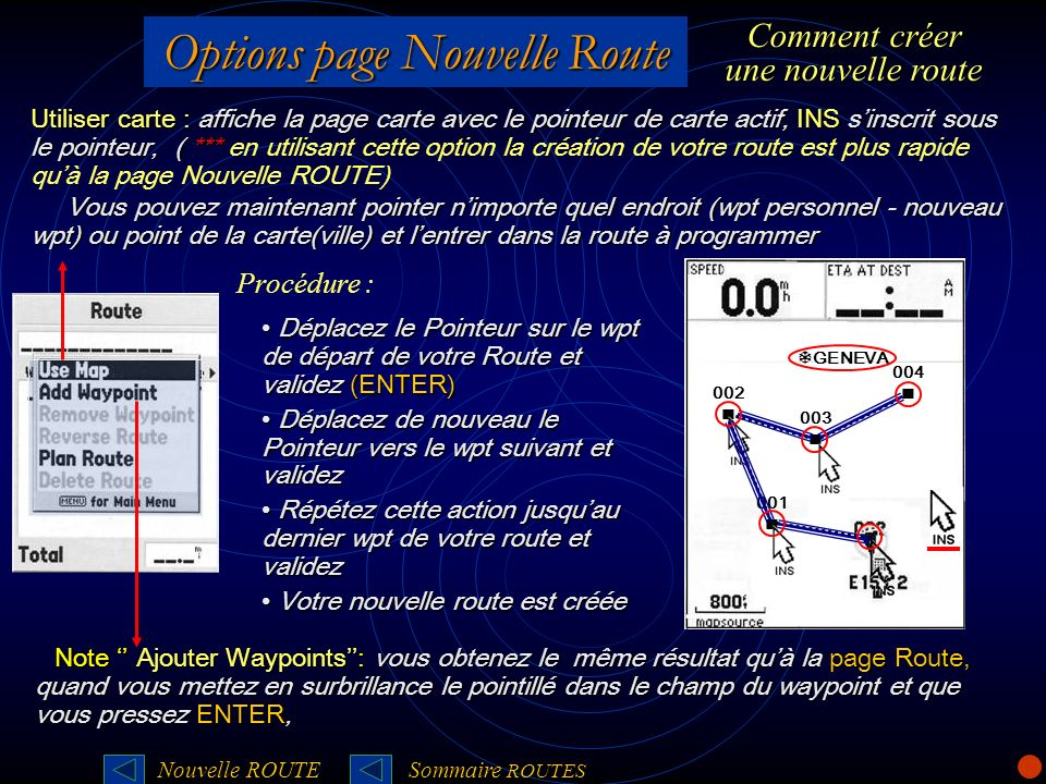 Options page Nouvelle Route