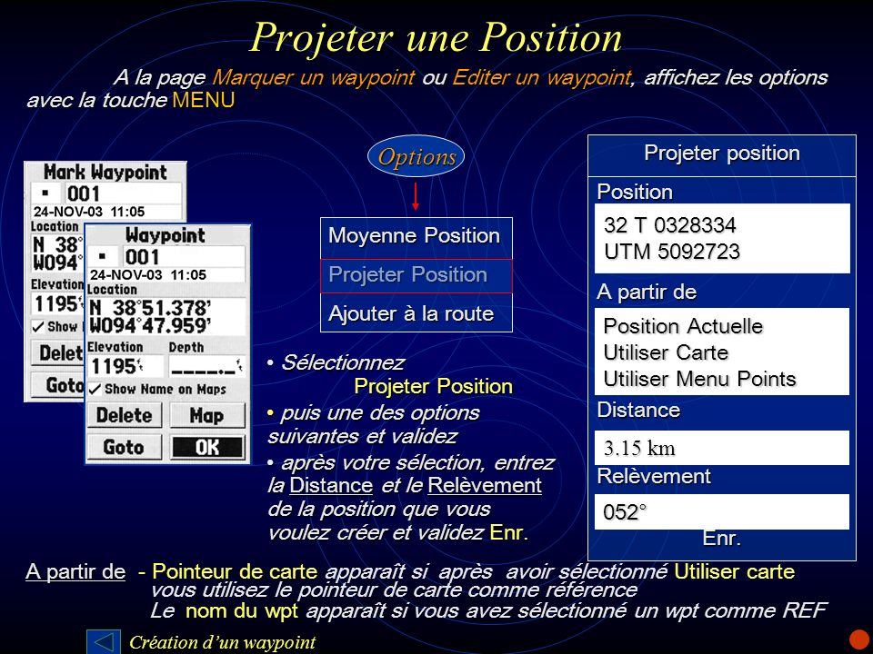 Projeter une Position A la page Marquer un waypoint ou Editer un waypoint, affichez les options avec la touche MENU.