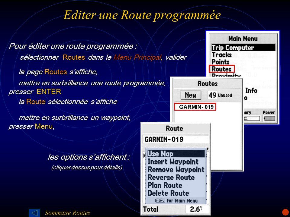Editer une Route programmée