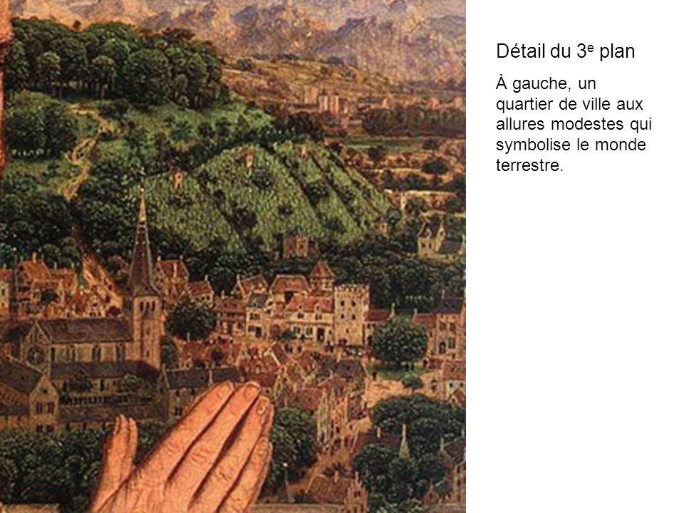 Détail du 3e plan À gauche, un quartier de ville aux allures modestes qui symbolise le monde terrestre.