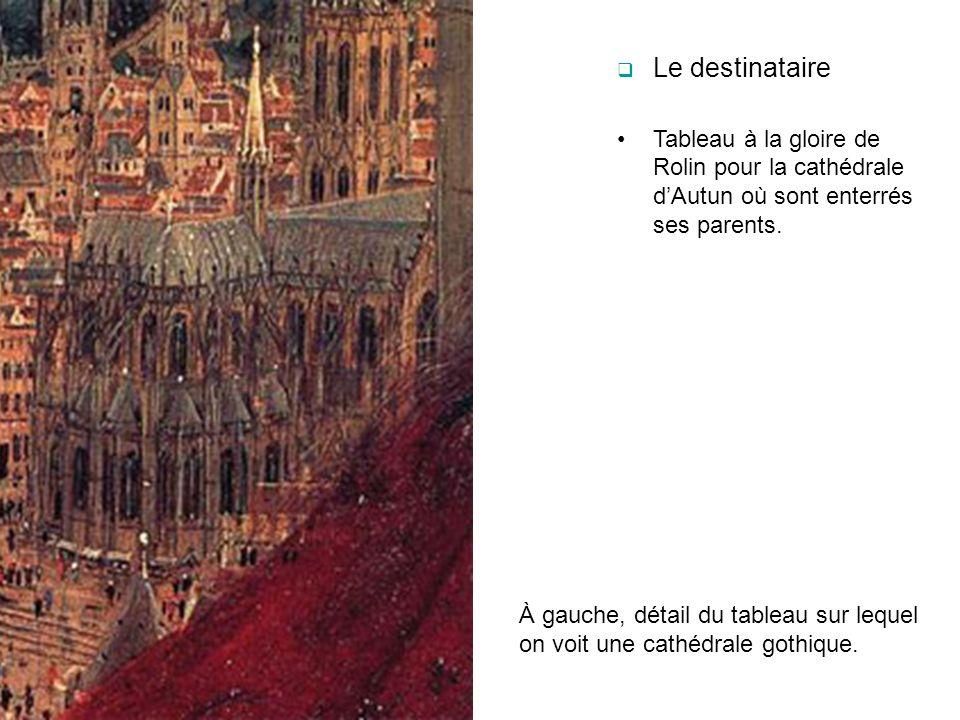 Le destinataire Tableau à la gloire de Rolin pour la cathédrale d'Autun où sont enterrés ses parents.