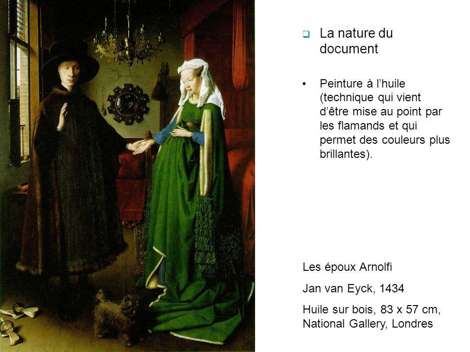 La nature du document Peinture à l'huile (technique qui vient d'être mise au point par les flamands et qui permet des couleurs plus brillantes).
