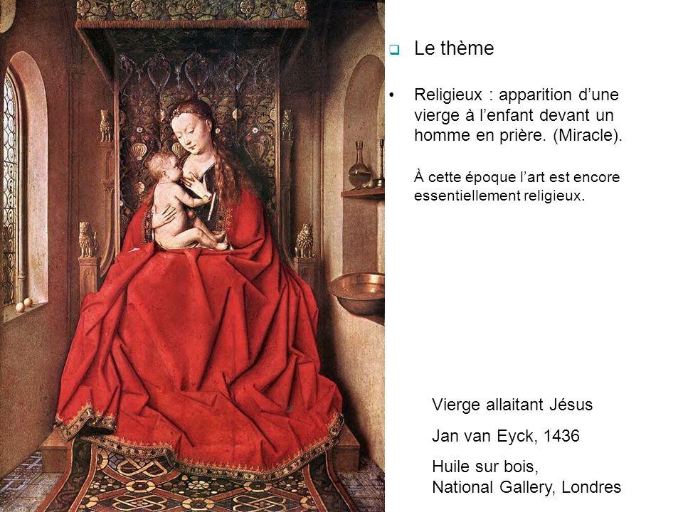 Le thème Religieux : apparition d'une vierge à l'enfant devant un homme en prière. (Miracle).