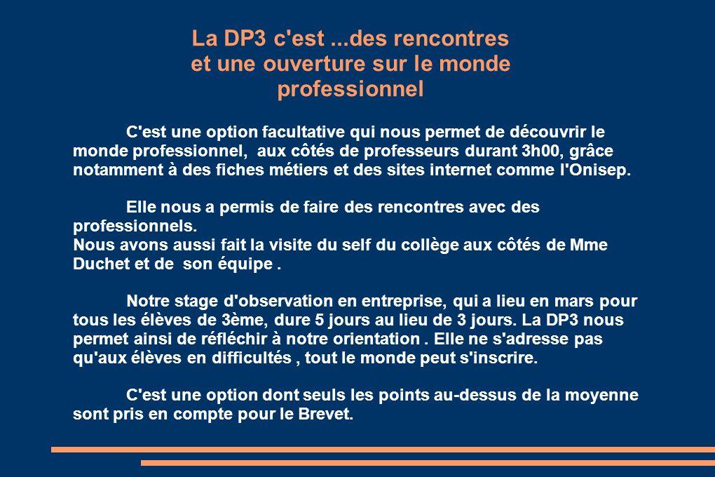La DP3 c est ...des rencontres et une ouverture sur le monde professionnel
