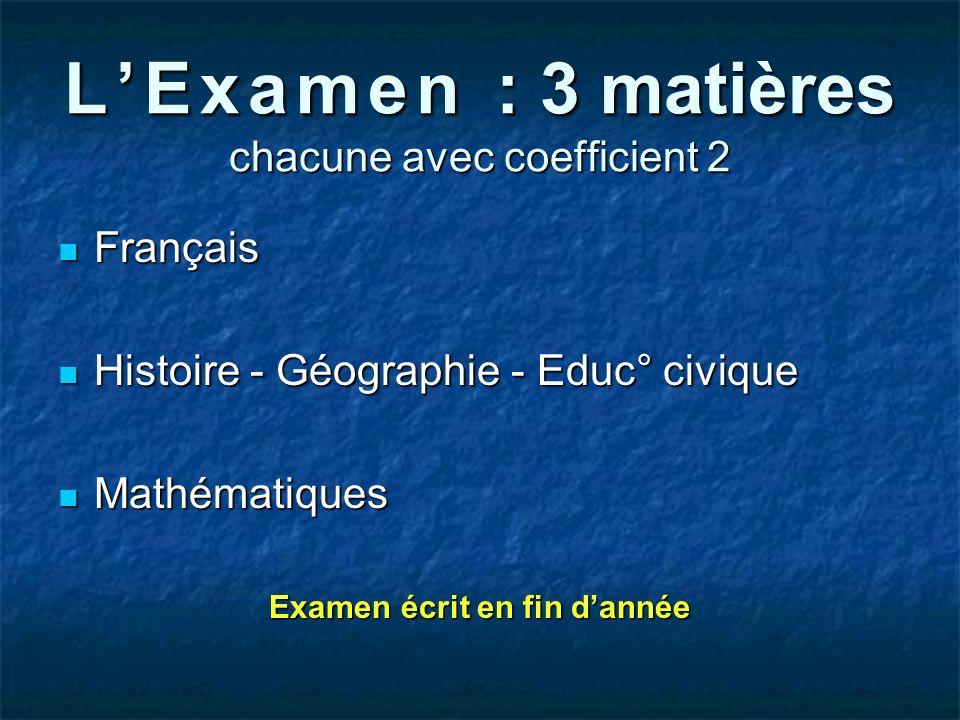 L'Examen : 3 matières chacune avec coefficient 2