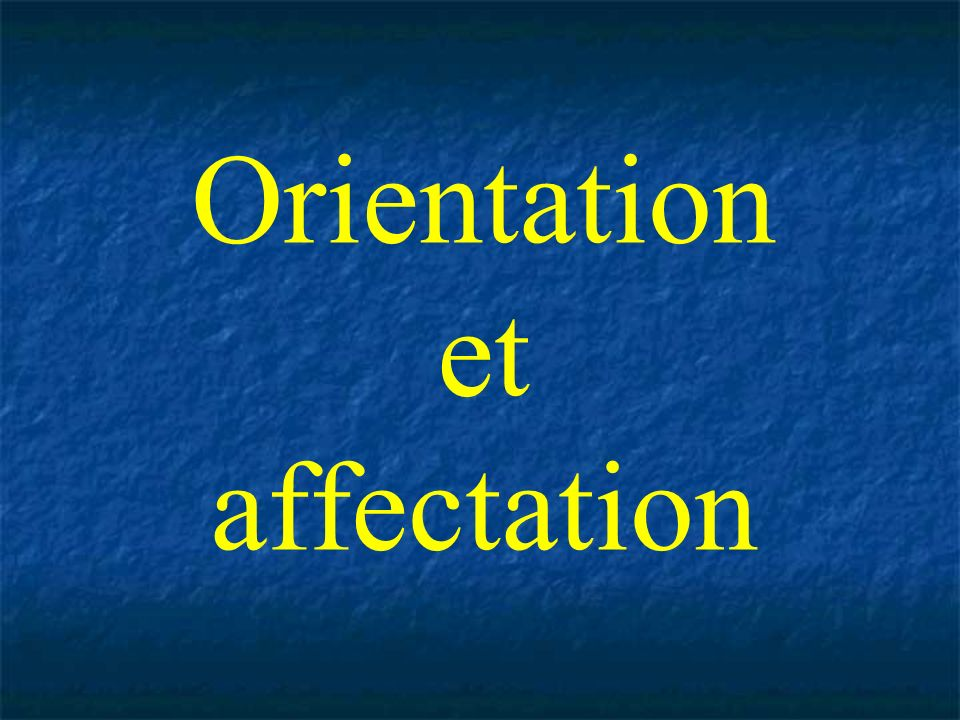 Orientation et affectation