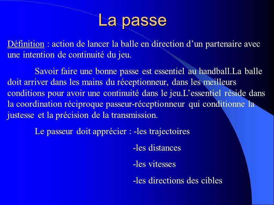 La passe Définition : action de lancer la balle en direction d'un partenaire avec une intention de continuité du jeu.