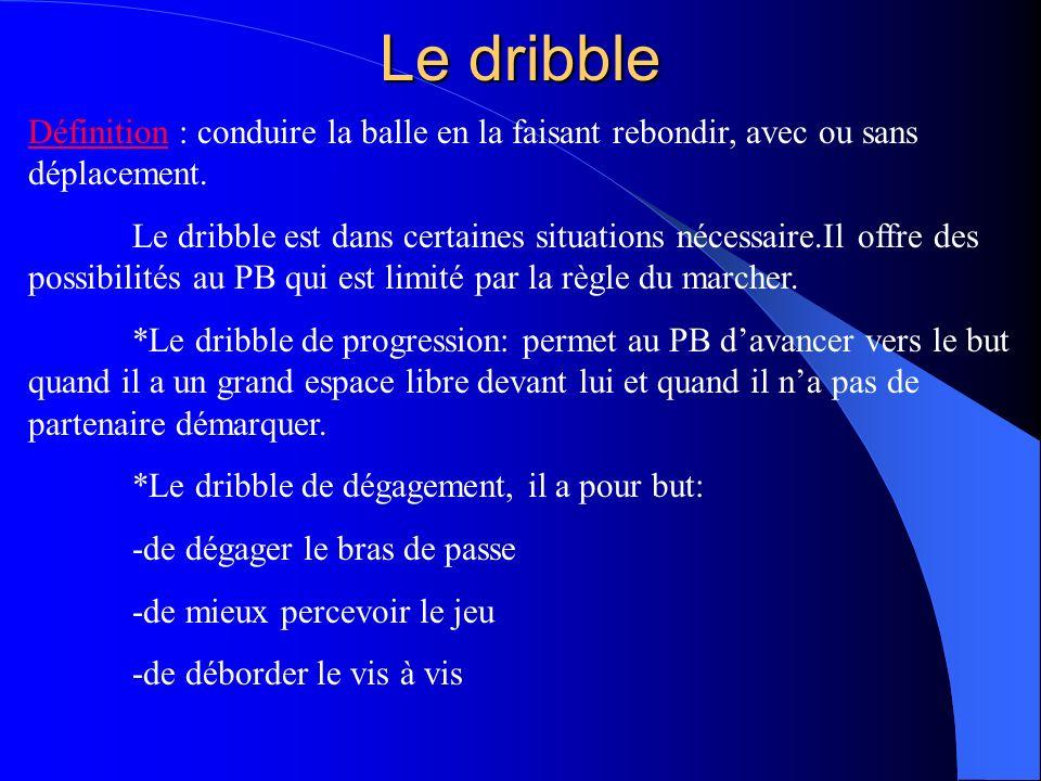 Le dribble Définition : conduire la balle en la faisant rebondir, avec ou sans déplacement.