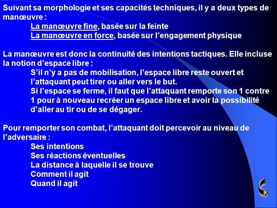 Suivant sa morphologie et ses capacités techniques, il y a deux types de manœuvre : La manœuvre fine, basée sur la feinte La manœuvre en force, basée sur l'engagement physique La manœuvre est donc la continuité des intentions tactiques.