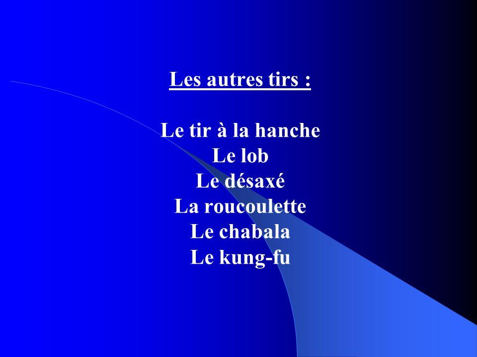 Les autres tirs : Le tir à la hanche Le lob Le désaxé La roucoulette Le chabala Le kung-fu