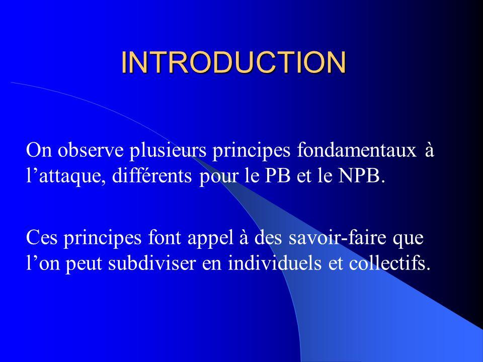 INTRODUCTION On observe plusieurs principes fondamentaux à l'attaque, différents pour le PB et le NPB.