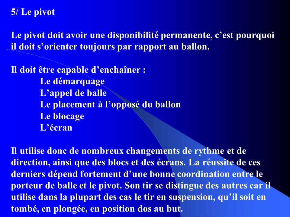 5/ Le pivot Le pivot doit avoir une disponibilité permanente, c'est pourquoi il doit s'orienter toujours par rapport au ballon.