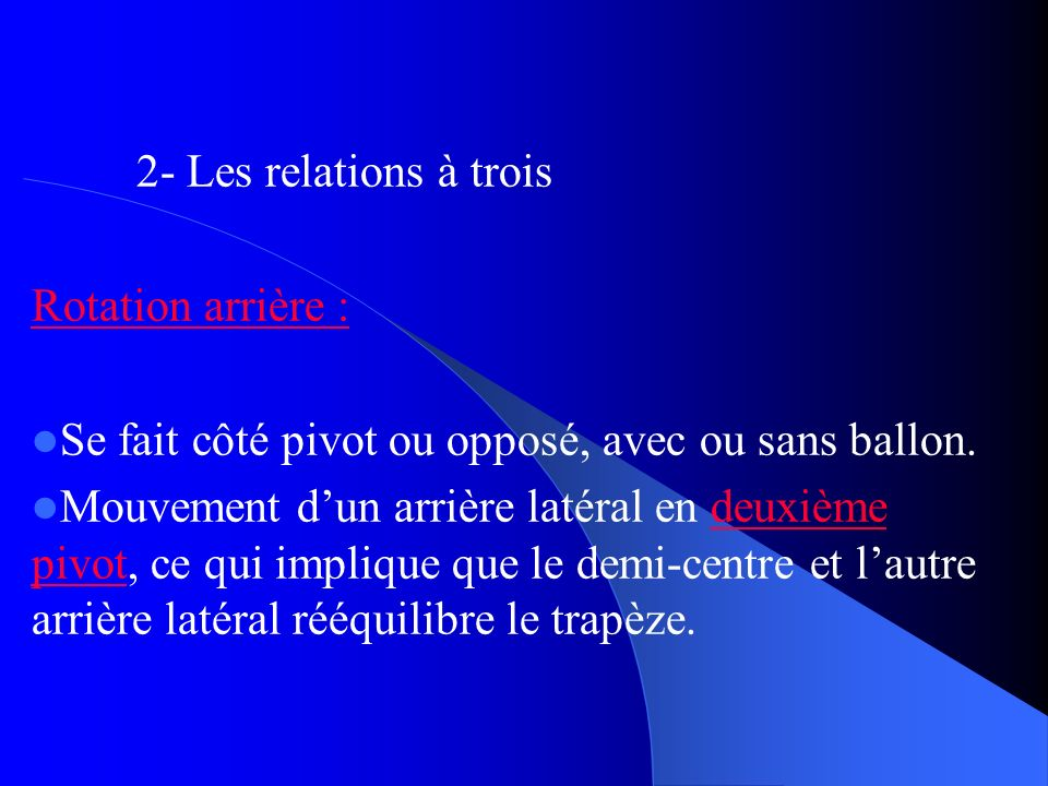 2- Les relations à trois Rotation arrière : Se fait côté pivot ou opposé, avec ou sans ballon.