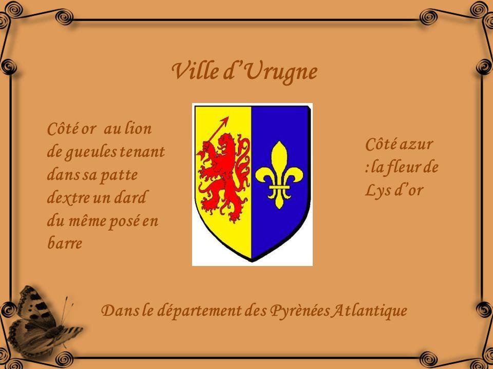 Ville d'Urugne Côté or au lion de gueules tenant dans sa patte dextre un dard du même posé en barre.