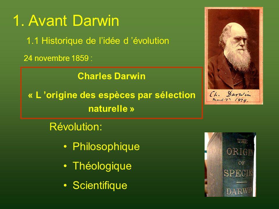« L 'origine des espèces par sélection naturelle »