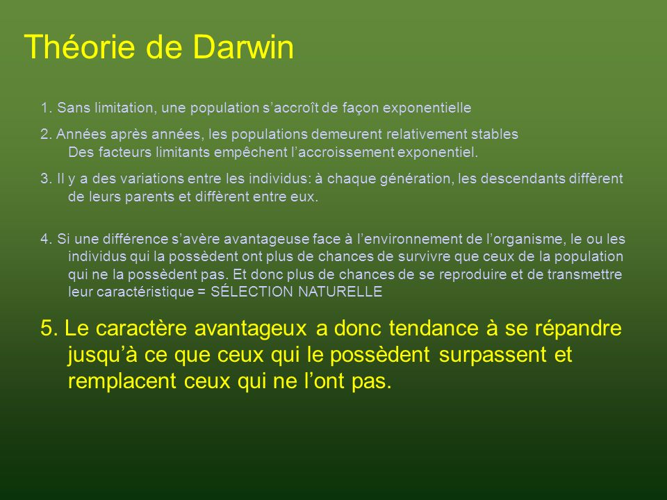 Théorie de Darwin 1. Sans limitation, une population s'accroît de façon exponentielle.