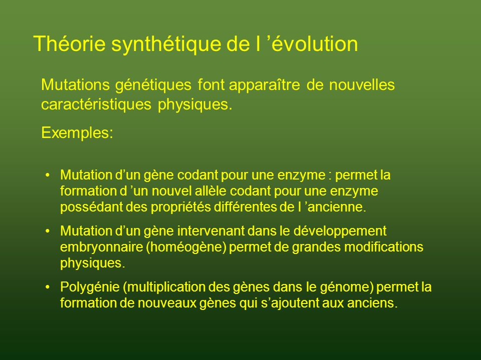 Théorie synthétique de l 'évolution