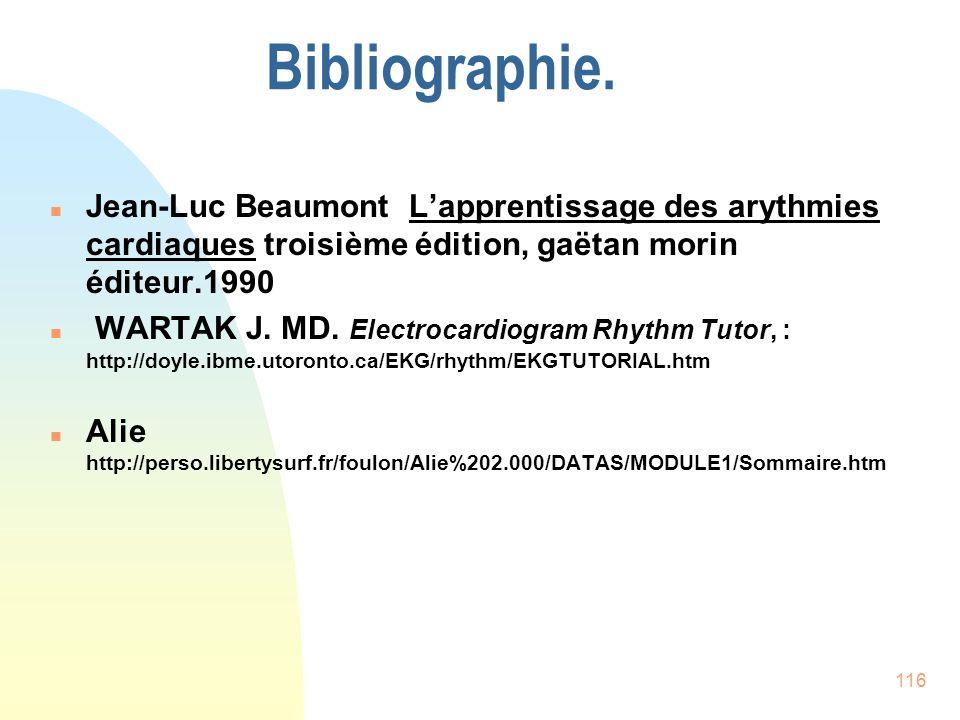 Bibliographie. Jean-Luc Beaumont L'apprentissage des arythmies cardiaques troisième édition, gaëtan morin éditeur.1990.