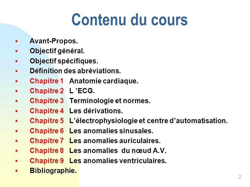 Contenu du cours Avant-Propos. Objectif général. Objectif spécifiques.