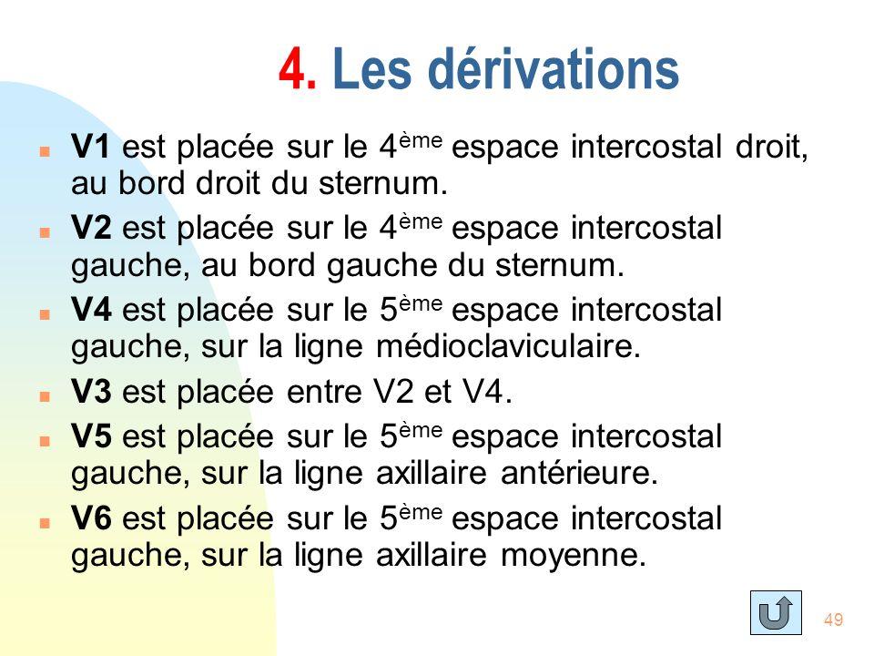 4. Les dérivations V1 est placée sur le 4ème espace intercostal droit, au bord droit du sternum.
