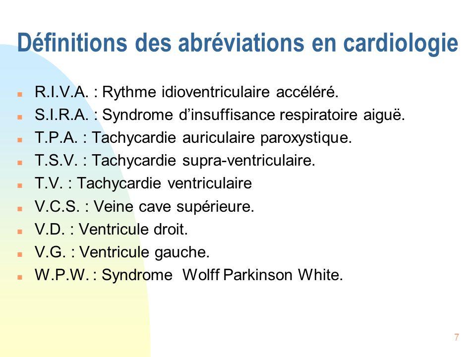 Définitions des abréviations en cardiologie