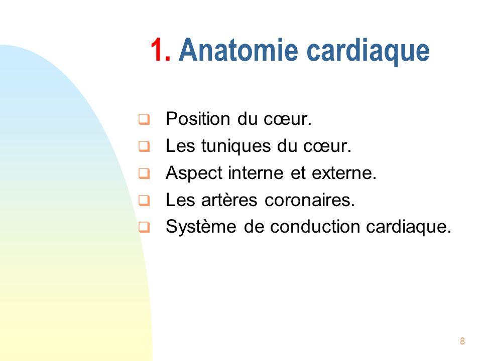 1. Anatomie cardiaque Position du cœur. Les tuniques du cœur.