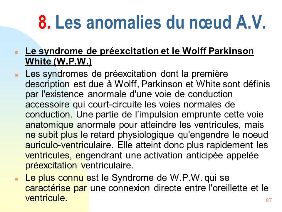 8. Les anomalies du nœud A.V.