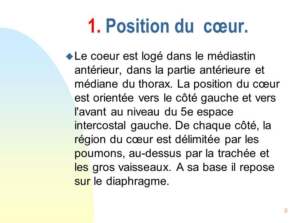1. Position du cœur.