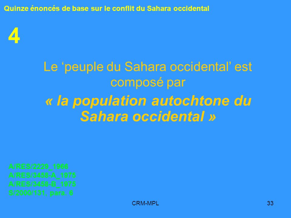 « la population autochtone du Sahara occidental »